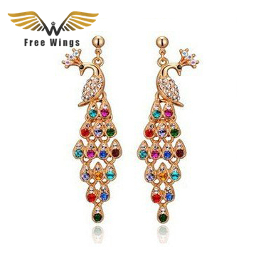 99f29af49bc0dc Rhinestone Colorful Crystal Peacock Earrings Fringed Long Earrings for  Women Fashion Jewelry