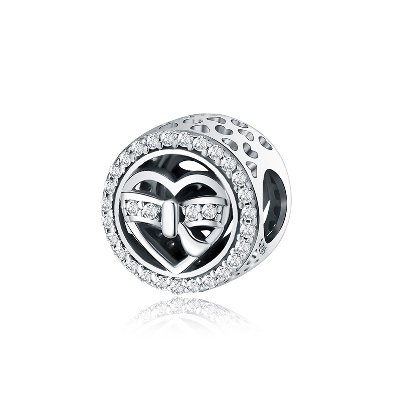 Authentic 925 Sterling Silver Charm Heart Gift Box Crystal Round Beads For Original Pandora Charm Bracelets & Bangles Jewelry