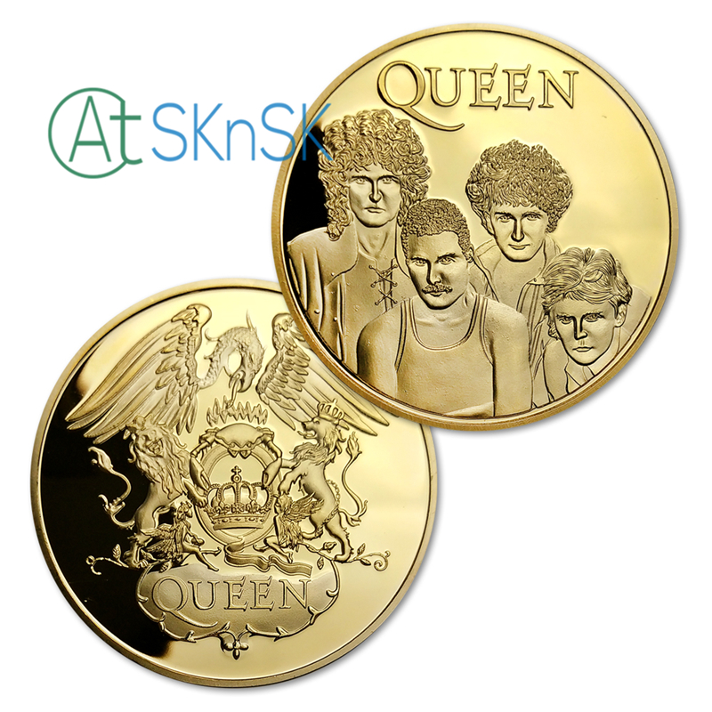 5PCs/lot QUEEN Rock Band Music Commemorative Legends Gold/Silver Plated Coins Collectibles for Collector Fans Collection Gifts