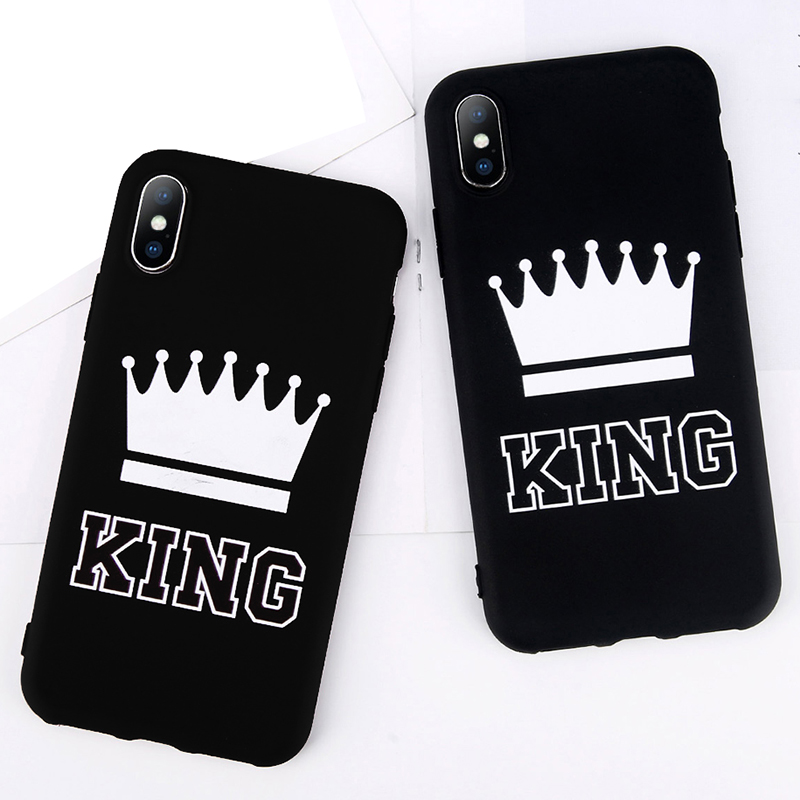 King Queen Crown Phone Case For iphone XR XS Max X 8 7 6 6s Plus Case Fashion Stylish Soft TPU Cover For iphone 5 5s SE Silicon (1)
