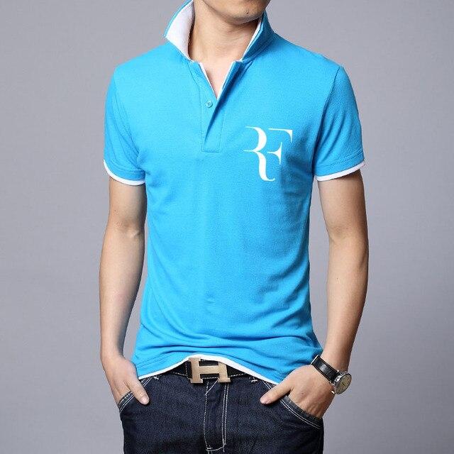 Роджер Федерер совершенное логотипом polo РФ Новые люди высокое качество социальной Polo shirts men