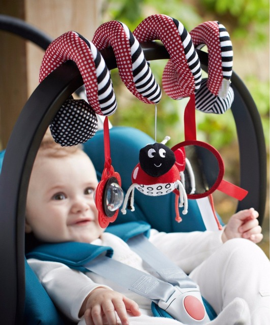Cute Spiral Activity Stroller Car Seat Cot Lathe Hanging Babyplay Travel Toys Newborn Baby Rattles Infant Toys 2015 New Arrival