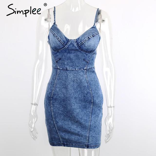 Simplee Apparel Sexy backless 2016 denim dress Women vintage bodycon summer dress Beach party short dresses casual blue vestidos