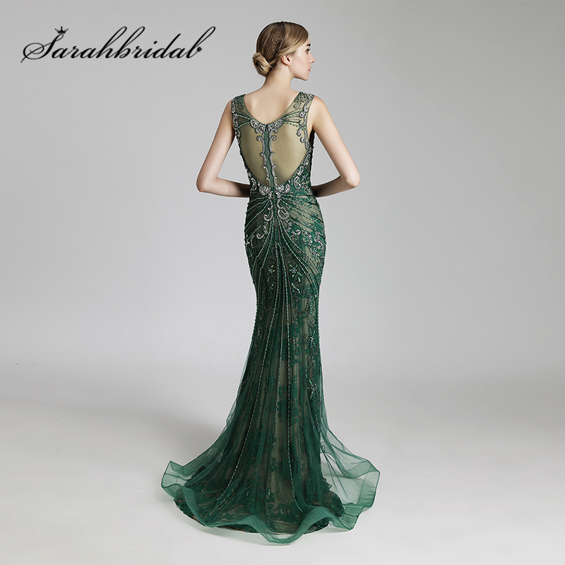 Luxury Long Evening Dresses Sexy Sheer Back Mermaid O Neck Beaded Crystals Women Formal Celebrity Gowns Real Photos CC429