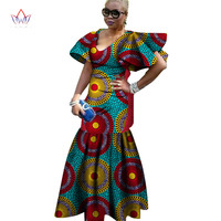 2018 african dresses for women Fashion Design dashiki women bazin riche V neck long dress dashiki plus size natural 6xl WY1264
