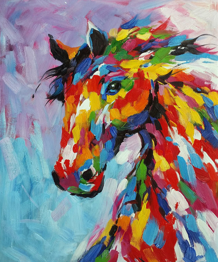 Knife Oil Painting Horse On Canvas Abstract Living Room ...