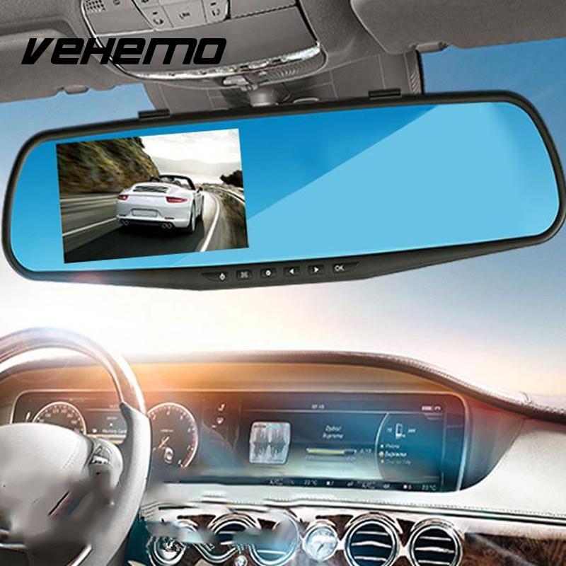 720 p Coche DVRs Cámara registrator Dash CAM 2.8 pulgadas con espejo retrovisor digital video recorder g-sensor noche visión videocámara