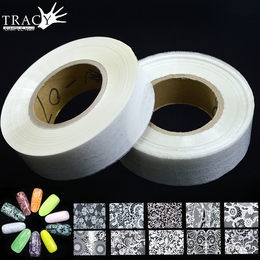 500m Wholesale Nail Art Transfer Foils Sexy White Lace Flower Nail Art Tips Decoration Beauty Manicure Nail Supplies TRLM01 10-in Stickers & Decals from Beauty & Health    1
