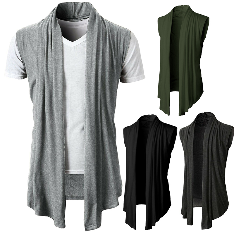 New Men Fashion Cardigan Sleeveless Jacket Coat Shawl Waistcoat Vest Top Drop Ship Hot Selling Promotion Clothes