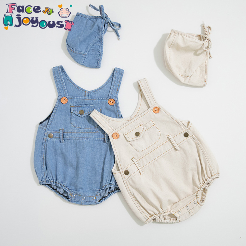 New High Quality Denim Baby Clothing Newborn Baby Rompers+Hat Infant Boys Girls Clothes Jumpsuit Outfits Cute Kids Overalls 0-3Y