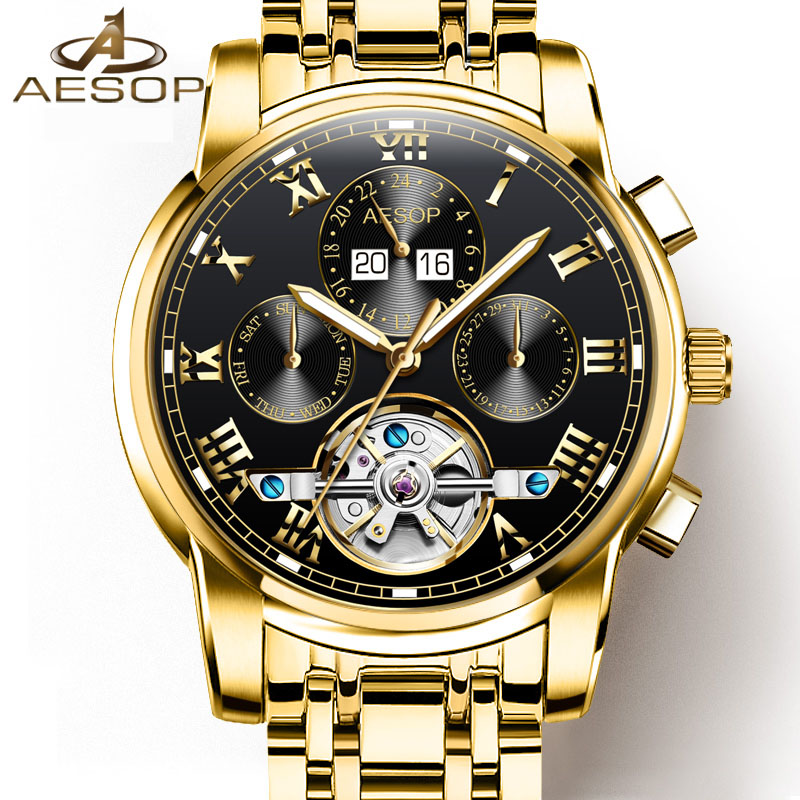 Luxury tourbillon watch men gold Stainless steel Automatic mechanical Sapphire waterproof multifunction watch relogio masculino