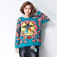 2017 Autumn Winter Loose Women Sweater Fashion Casual Flying Saucer Embroidery O Neck Long Sleeve Sweater