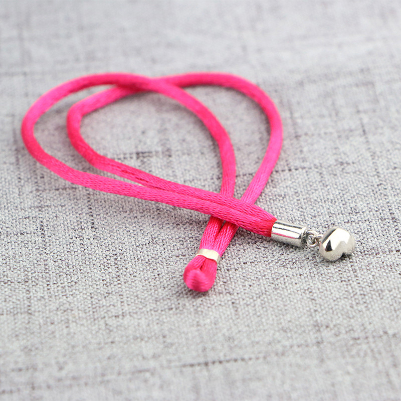 100% 925 Sterling Silver Basic Chain Pink Rope Heart Snake Clasp Bracelets Fit Charms Beads & Pendants For Women BB049 4 style 925 basic snake chain bracelets round flower love heart pink color buckle bracelets for women diy charms jewelry
