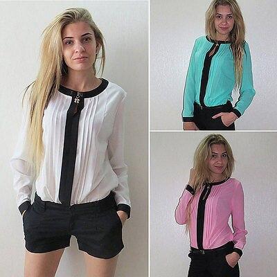 Fashion font b Women s b font Ladies Chiffon Long Sleeve Patchwork Tee font b Shirt