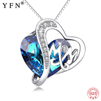 Mother's Day Gifts Genuine 925 Sterling Silver Ocean Blue Austrian Crystal Mom Letter Pendants Necklaces For Women Jewelry