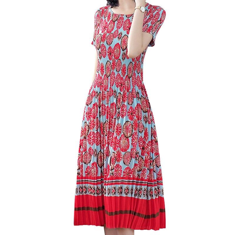 Women Summer Red Floral Long Pleated Dress 2019 New High Quality Print Elegant Vintage Slim Maxi Dresses Vestido Longo HJ268