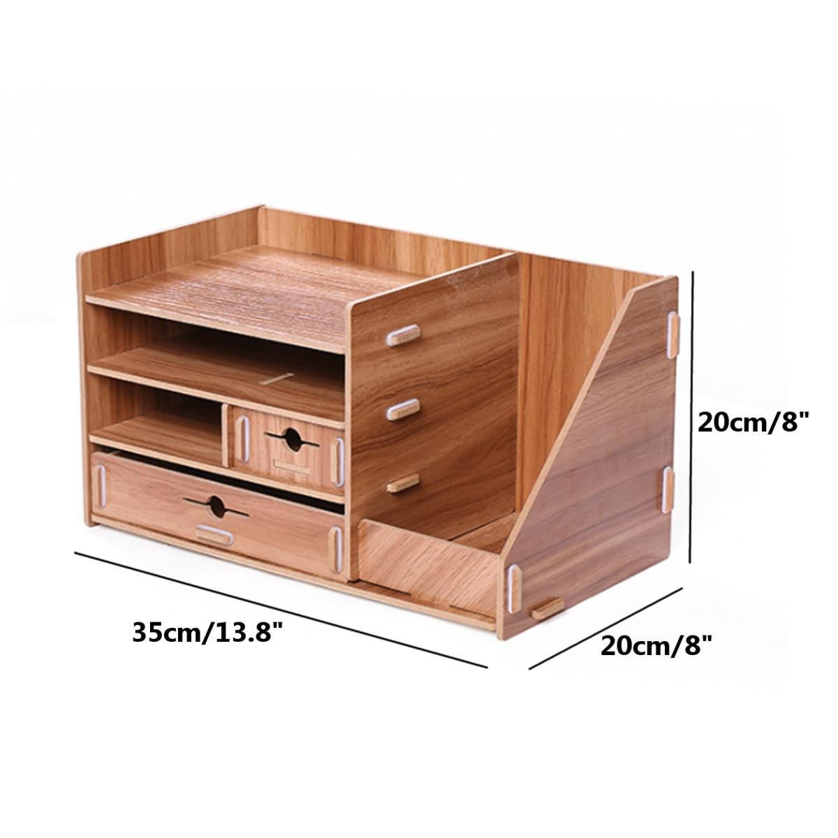 Boîte de rangement en bois bricolage avec tiroir cosmétiques organisateur bureau à domicile bureau tiroir maquillage organisateur nouveau - 4
