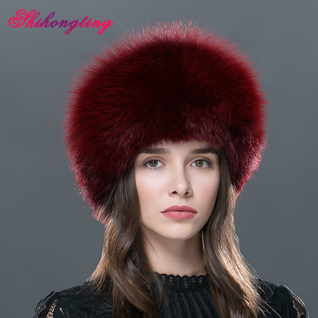 Women's Fur Hat For Winter Leather With Hairball Natural Fox Fur Adjustable Elastic Outdoor Caps Ear Protection Tampas WHL-01