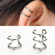 2018 New 1PC Fashion 2 Or 3 Row Silver U Shape Ear Cuff Wrap Stud Helix Cartilage Earrings Clip Non-Piercing Women Jewelry(China)