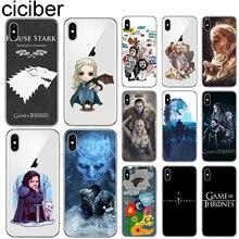 ciciber Game Thrones Cover Funda for Iphone 7 8 6 6S Plus 5S SE 11 Pro Max Soft Silicone Phone Case X XR XS MAX Coque