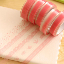 4pcs/lot Pink Lace Personality Roll DIY Washi Paper Decorative Sticky Paper Masking Tape Self Adhesive Office Supplies Color