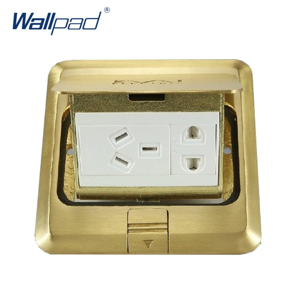 5 Pin Douille De Plancher Wallpad De Luxe Cuivre et SS304 Panneau Amortissement Lent Ouvert Pour Terrain Avec Mouting Boîte AC110-250V