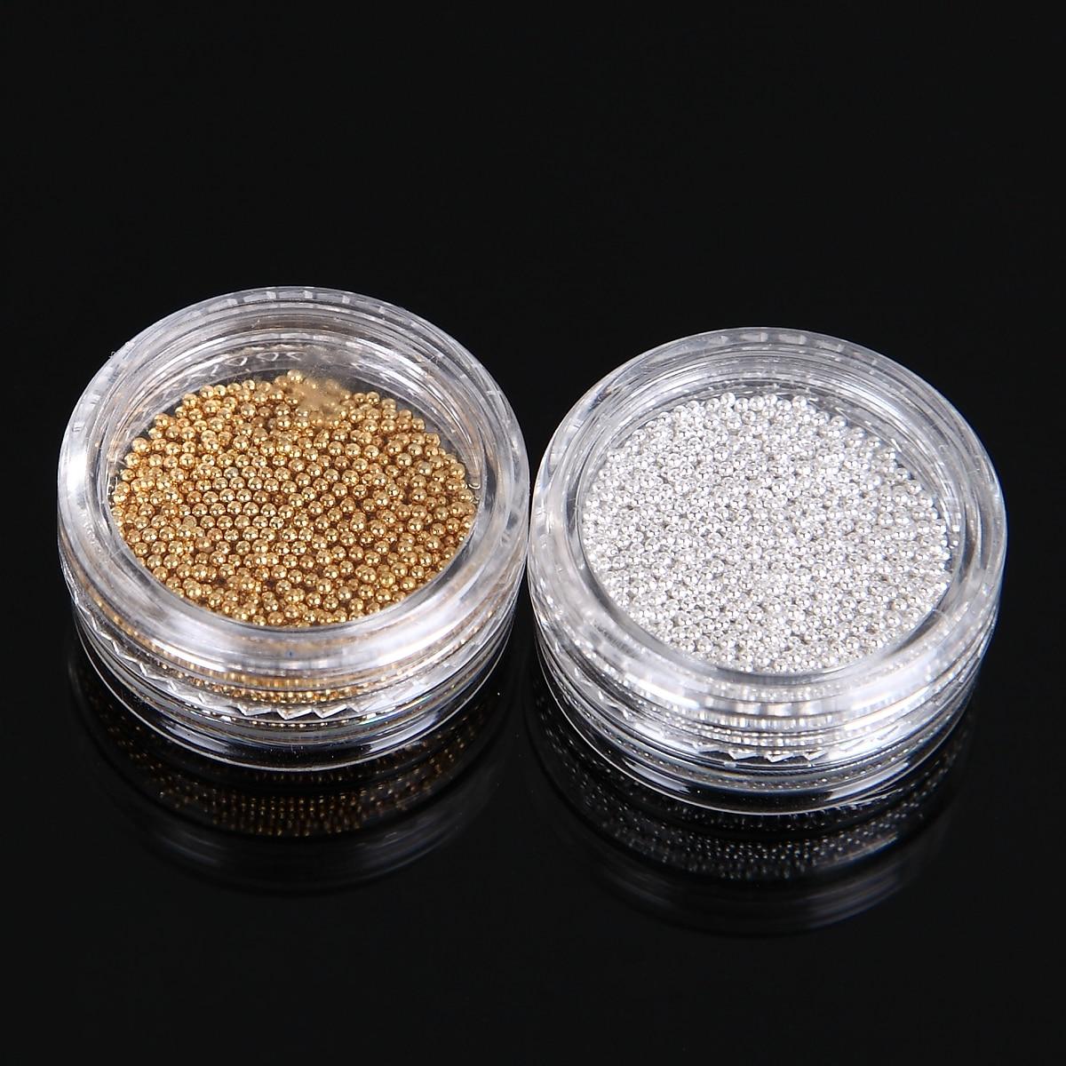 Monja 10g / kutija 1mm zlatna srebrna noktiju metal metal perle od - Manikura - Foto 6
