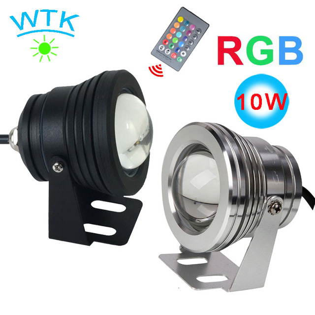 12V 10WRGB Waterproof IP68 Underwater  Led Mountain  LED Pool  LED Aquarium Lamps 16 Color Changeable 24key IR Remote Controller