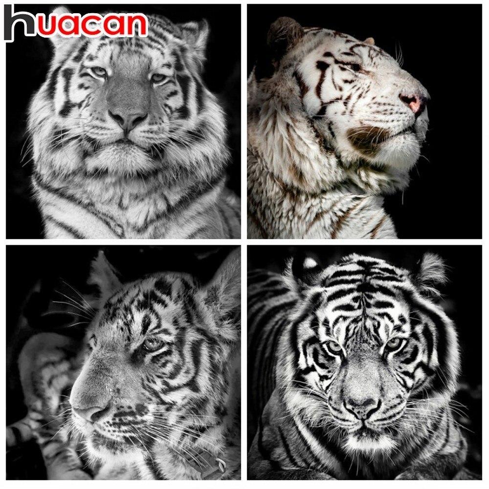 Huacan 5D יהלומי ציור יהלומי נמר רקמת בעלי החיים פסיפס ציור Rhinestones בית תפאורה מחט אמנויות & קרפט