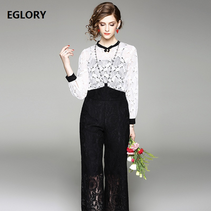 New Designer Fashion Jumpsuits 2018 Spring Women Black White Lace Embroidery Patchwork Long Sleeve Full Length Jumpsuit Rompers