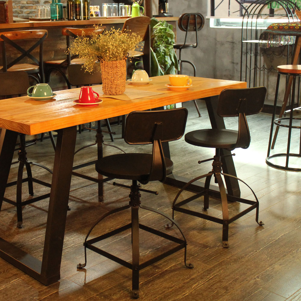 Industrial Style Metal Bar Stool Ajustable Height Swivel Kitchen Dining Chair W/ Backrest Coffee Chair Cafe Bar Home Furniture