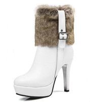Winter Snow Boots Platform Women Shoes Fur Plush Ankle Boots Black Red White High Heels Platform