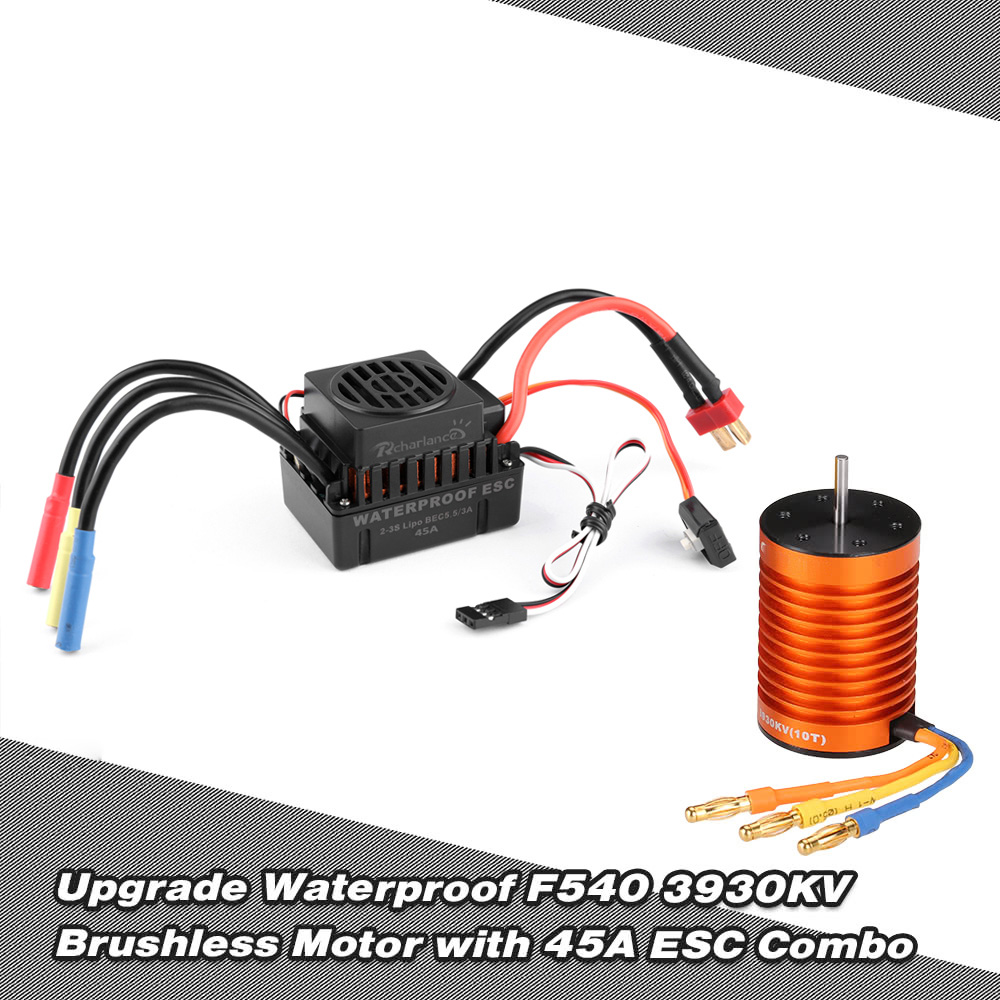 Upgrade F540 3930kv Metal Water Proof Brushless Motor and 45A Waterproof ESC Combo for 1 10