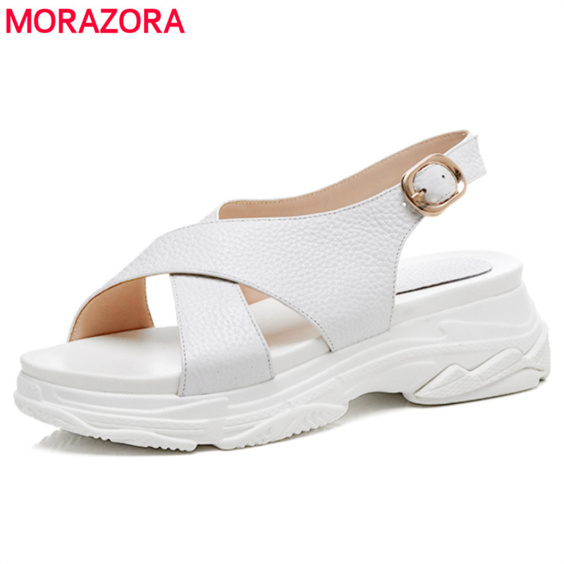4741f0d0c63 MORAZORA-2018-Hot-sale-genuine-leather-women-sandals-platform-shoes-casual-med- heel-solid-color-buckle.jpg