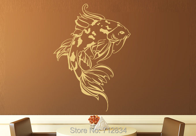 B z d free shipping home decoration koi fish art decals for Koi home decor