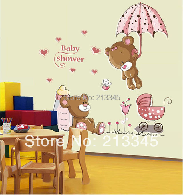 Fundecor Diy Decals Removable Baby Shower Cute Cartoon