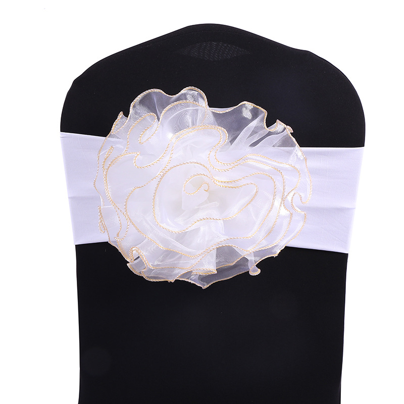 Flower Spandex Chair Band Lycra Chair Sash Chair Decoration Free Shipping 100Pcs in Sashes from Home Garden