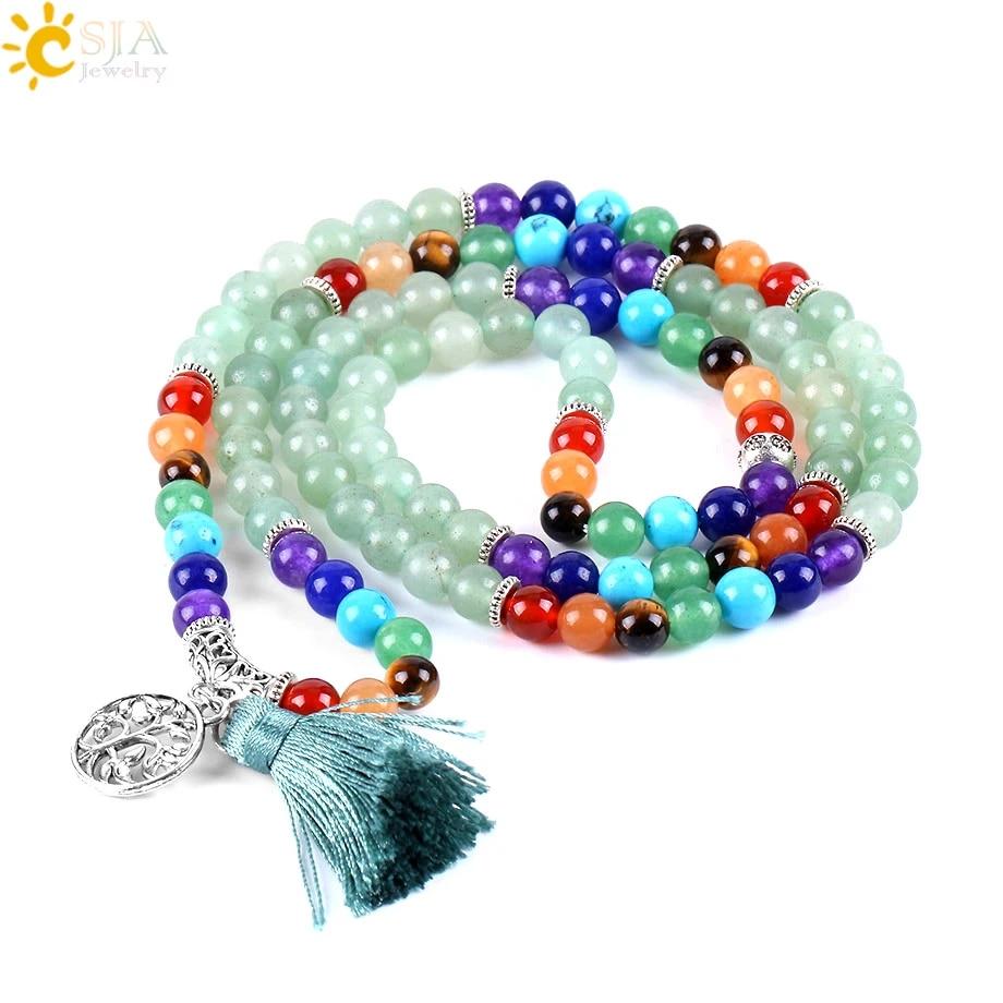 Meditation Mala Necklace Beads Bohemian Gemstone Long Mala Green Bead Stone Tassel Necklace Spiritual Chakra Mala Healing  Mala Jewelry