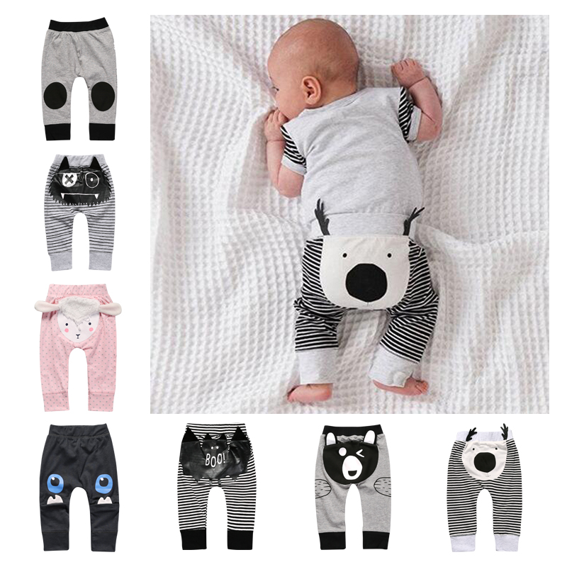 2018 New Cute Cartoon Pattern Baby Boys Pants Boots Cotton Owl Bear Deer Printed Pants Spring Autumn Children Long Pants SK130 sports style owl printed lace up narrow feet long pants for men