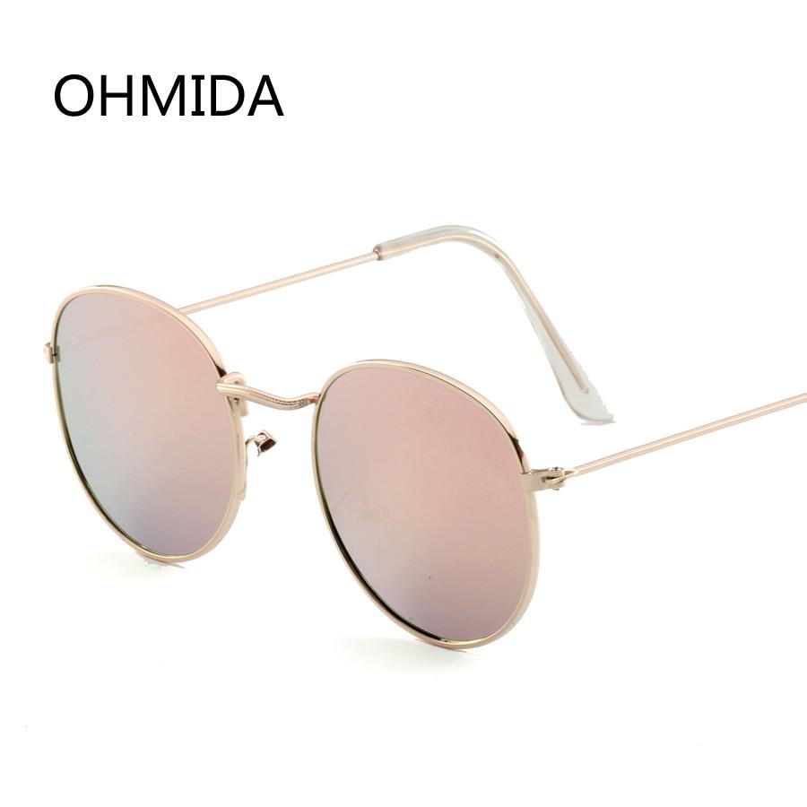 Ohmida الأزياء الذهبي الوردي نظارات شمسية فتاة 2018 العلامة التجارية مصمم جولة النساء السيدات خمر نظارة دي سولي فام