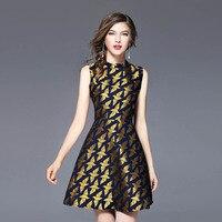 Comércio exterior de high-end boutique gola sem mangas Jacquard cintura Fina das mulheres frete grátis mulheres rockabilly vestido SZOS97063