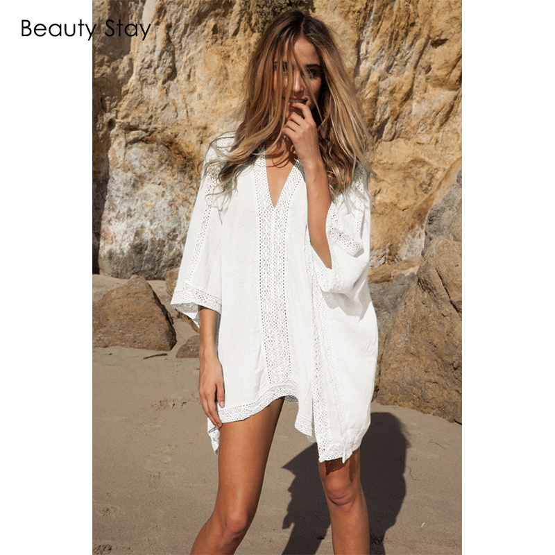 Beautystay Women Lace Collar Sexy Beach Dress Loose Plus Size Cotton - Ropa de mujer - foto 4