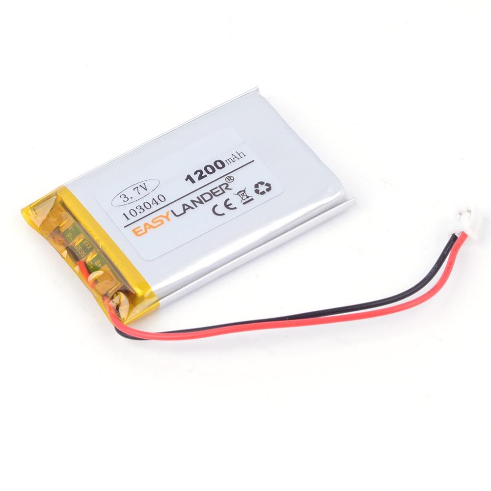 103040 3.7V 1200mAh Rechargeable Li-Polymer Li-ion Battery For  mp4 mp5 toys DVR GPS  PDA Tools Speaker with JST plug  PN103040