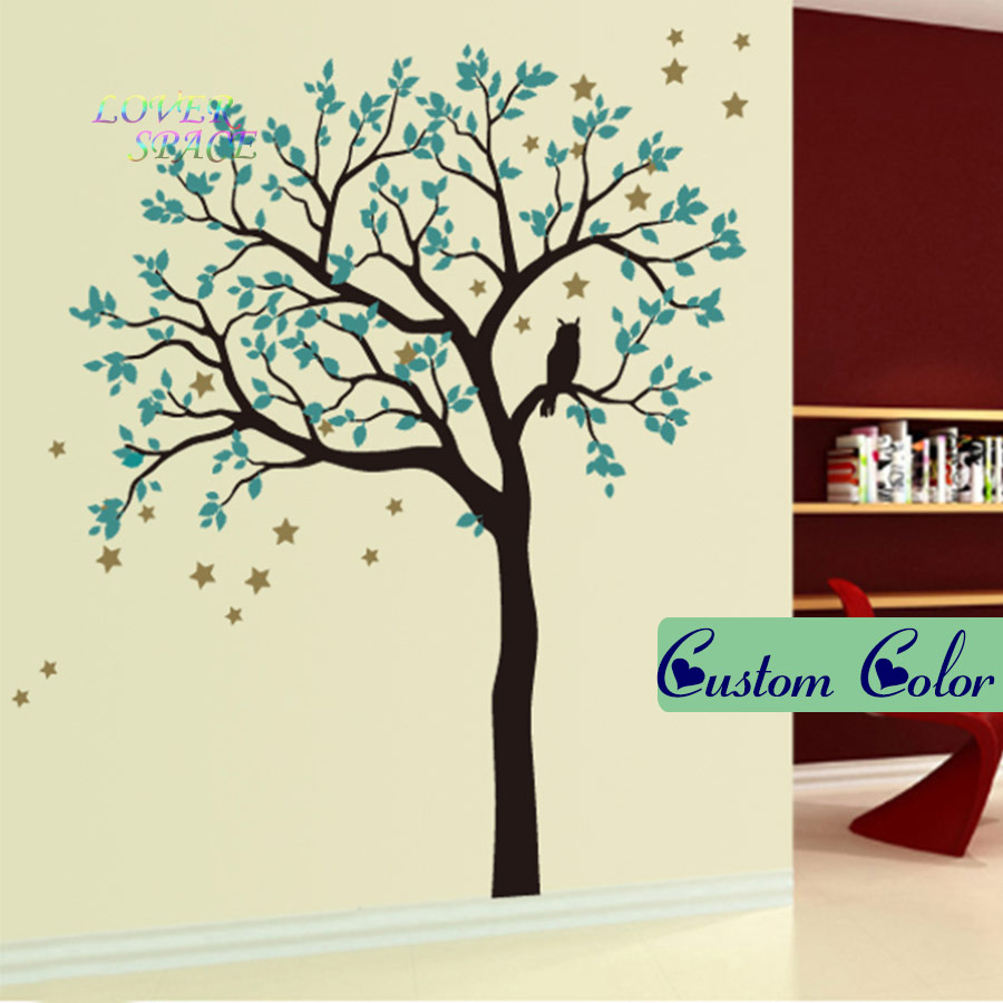 Owl decor for baby room - Huge Wall Decals Owl Hoot Star Tree Wall Stickers Vinyl Living Room Decal Kids Nursery Baby