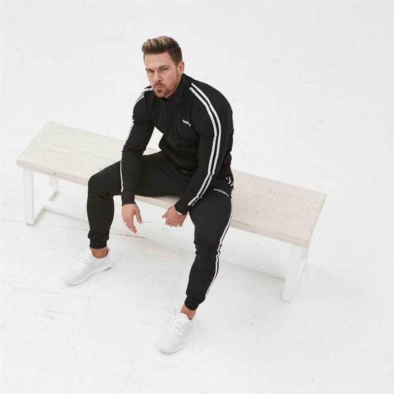 2019 New fashion Print Men Sport Set Spring Tracksuit long Sleeve Hoodie Sweatshirt GYM Fitness Pants Workout Running Suit in Men 39 s Sets from Men 39 s Clothing