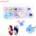 12colors/box 3D Real Dried Dry Flower + Rhinestone Storage Box Nail Art Decoration UV Gel Polish Stickers Manicure Tips Decals