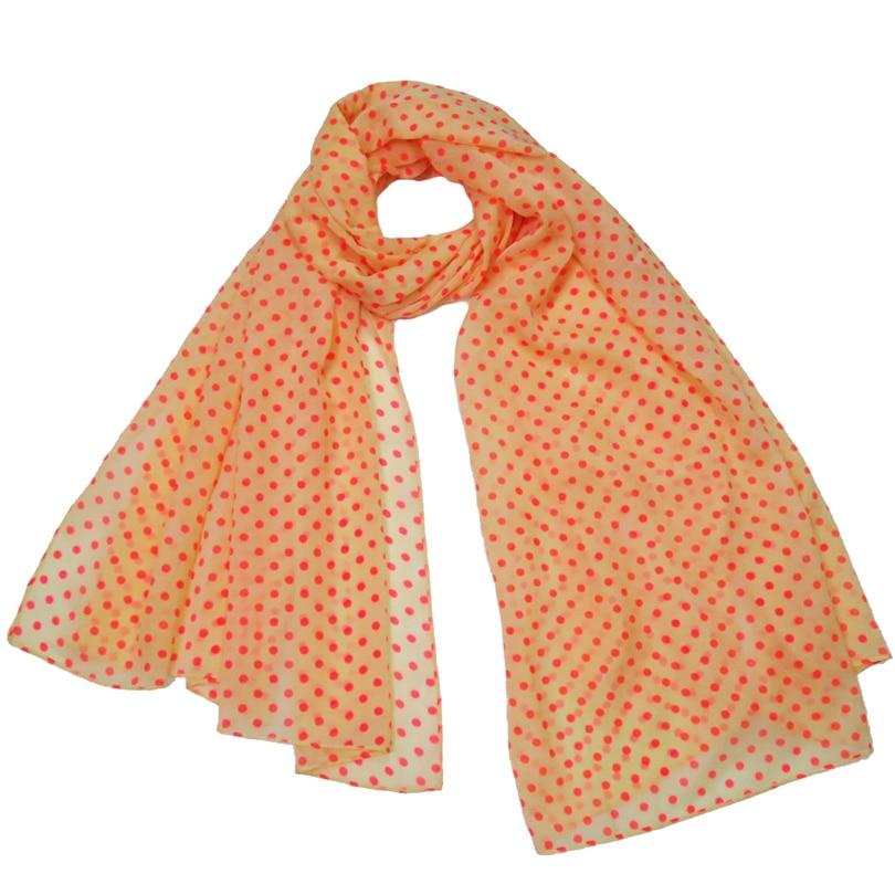 Summer Scarf Wrap Women 2017 Fashion Orange Dots Foulard Femme Shawl Stole Collar Soft Smooth Lady Hijab Scarves Female Bandana