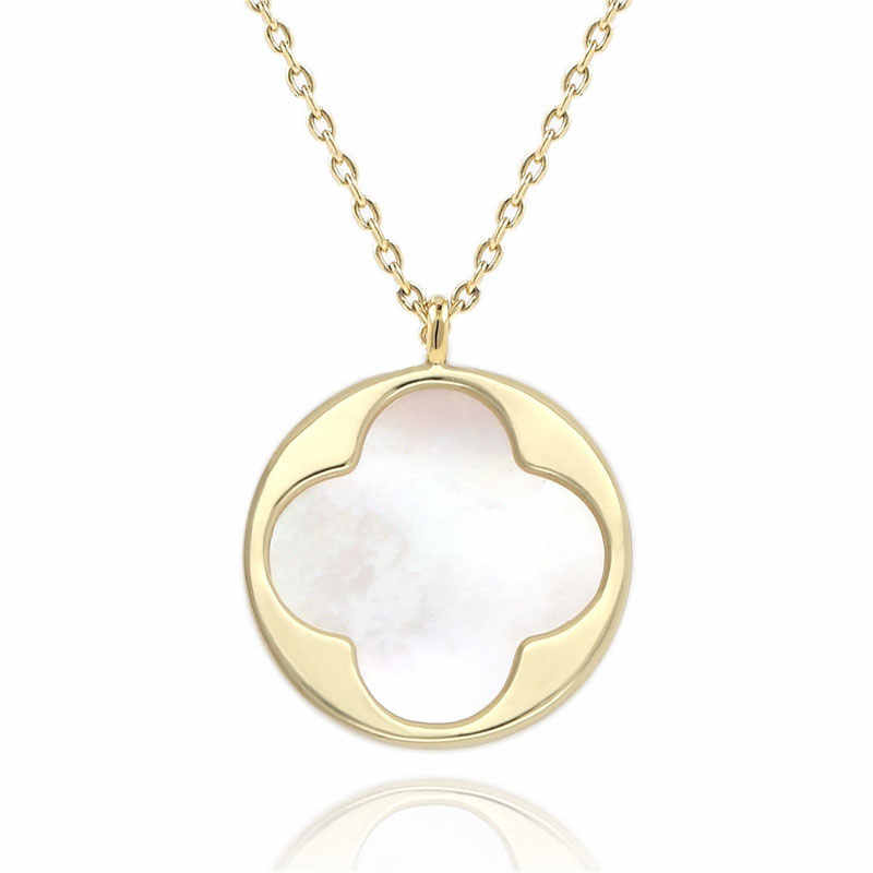 Trendy Four-leaf clover Pendant Necklace for Women Girls Simple Handmade Shell of Pearl Charm Coin Necklace Best Gift for girls