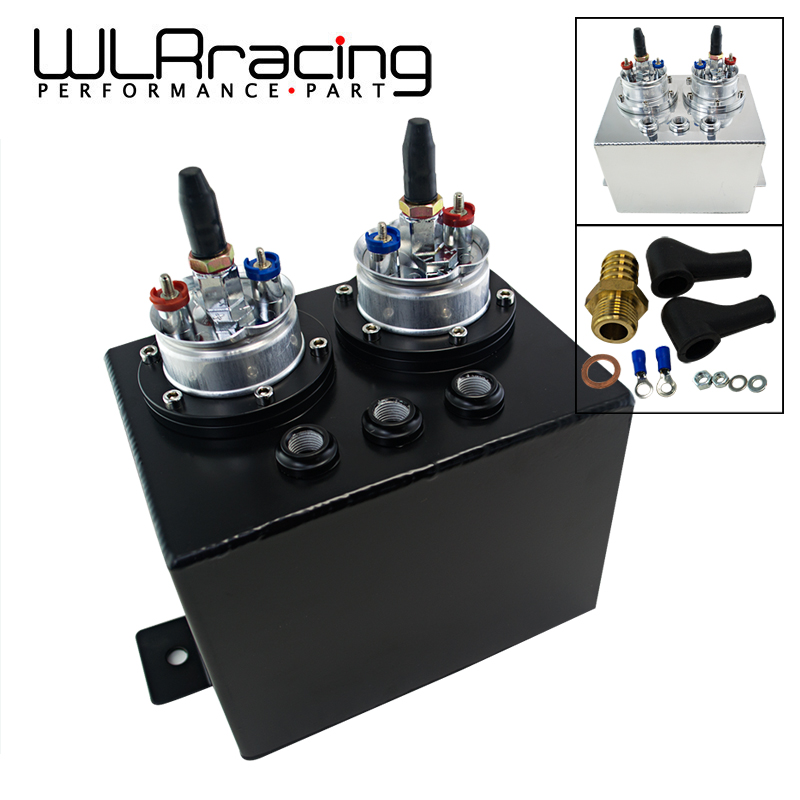 цена на WLR RACING - 3L Dual BILLET ALUMINUM FUEL SURGE TANK / SURGE TANK With 2pc 044 FUEL PUMP SILVER OR BLACK WLR-TK84044