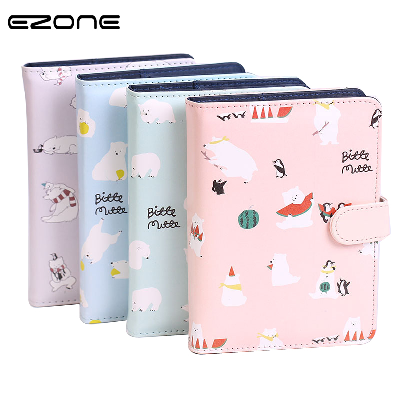 EZONE 1PC Kawaii A6 Notebook Cute Polar Bear Leather Journal Hand Book Notepad Office School Supplies Stationery Students Gifts norrath kawaii stationery cute notebook planner notepad diary book journal record office school supplies for kids gifts